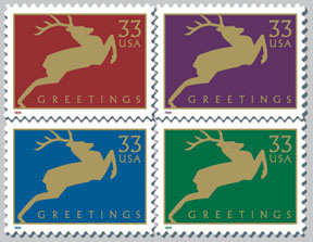 Holiday Deer stamps for the USPS by Tom Nikosey