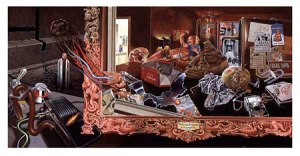 Dave McMacken's artwork for Frank Zappa's Over-Nite Sensation (1973)