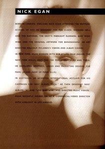 Nick Egan, biography, photograph